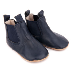 Pre-walker leather riding boots in navy
