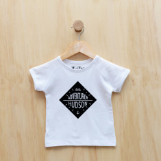 Personalised Little Adventurer monochrome t-shirt