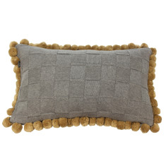 Emporium cotton knitted pom pom cushion (various colours)