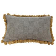 Emporium cotton knitted pom pom cushion (various colours)