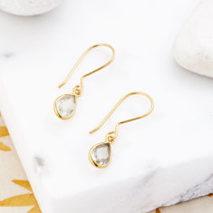 Sofia Fine Pear Drops With Green Amethyst