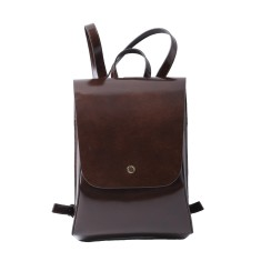 Vintage Style Leather Backpack In Brown