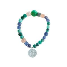 Zoisite, Iolite, rutile & chrysoprase bracelet