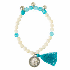 Shell beaded bracelet with blue tassel