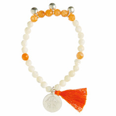 Shell beaded bracelet with orange tassel