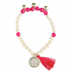 Shell beaded bracelet with pink