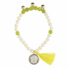 Shell beaded bracelet with jade
