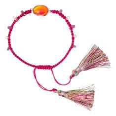 Pink silk bracelet with carnelian