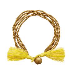 Brass bell tassel bracelet