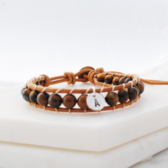 Personalised leather and stone wrap bracelet in catseye