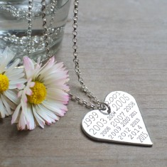 Personalised sterling silver heart memorable years necklace