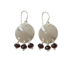 Garnet disc earrings
