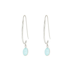 Pebble Hook Earrings With Aqua Chalcedony In Silver