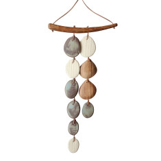 Wood and stoneware 2-strand wall hanging