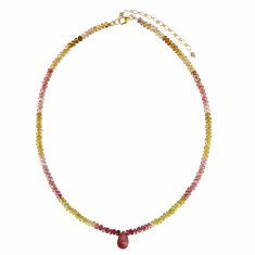Pink & yellow tourmaline necklace