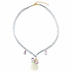 Agate ribbon necklace with amethyst and aquamarine