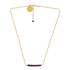 Gold plate chain necklace with ruby beads