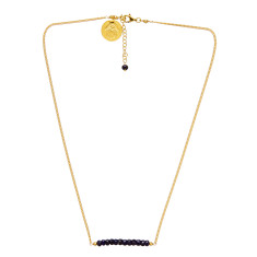 Gold plate chain necklace with sapphire