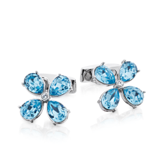 Flower cufflinks with Swarovski crystals