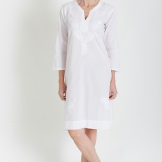 Long tunic in white on white