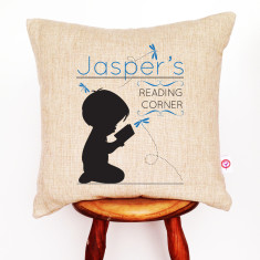 Personalised boys' reading linen cushion cover