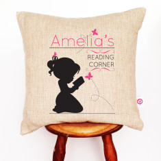Personalised girls' reading linen cushion cover