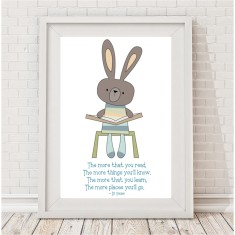 Reading rabbit quote print