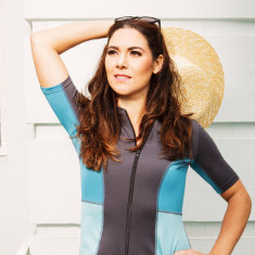 Womens short sleeved swimming top (rashie) in grey & aqua