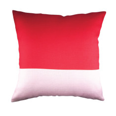 Red & pink colour block cushion cover (set of 2)
