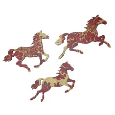 Trio of horses in red & gold