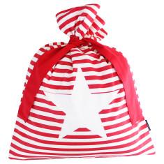 Red classic stripe Santa sack with star design