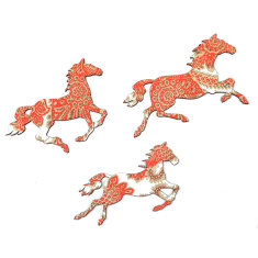 Trio of horses in red, gold & white