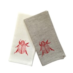 Christmas beetle linen napkins in red (set of 4)