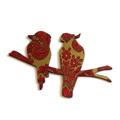 Cockatoo and kookaburra wall plaque in burgundy and gold vintage-style wallpaper