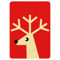 Wooden red reindeer Christmas postcard