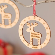 Personalised reindeer bauble style Christmas decoration