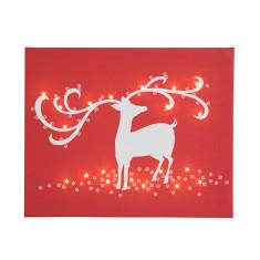Reindeer red illuminated canvas
