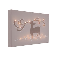 Christmas reindeer taupe illuminated canvas