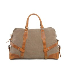 Canvas Travel Duffle Bag With Leather Handle