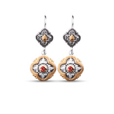 Sophia Sterling Silver & Gold Vermeil Garnet Drop Earrings