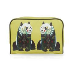 Mustard Yellow Panda Travel Wash Bag