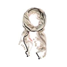 Aish saatvik pom pom trimmed ivory and charcoal scarf