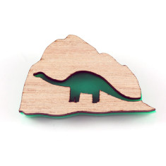 Dinosaur rock brooch