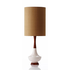 Electra table lamp large in raw silk gold