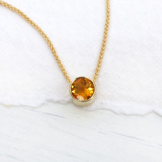 Citrine Necklace in 18ct Gold, November Birthstone