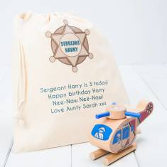 Personalised Click And Clack Wooden Helicopter Toy