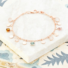 Sweetie Disc Charm Bracelet In Rose Gold Plate