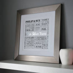 Personalised Silver Anniversary Metallic Word Art
