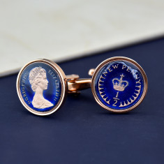 Halfpenny 40th 1976 Enamel Coin Cufflinks