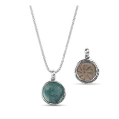 Alexandria silver flip pendant with Ancient Roman glass & Widows Mite coin